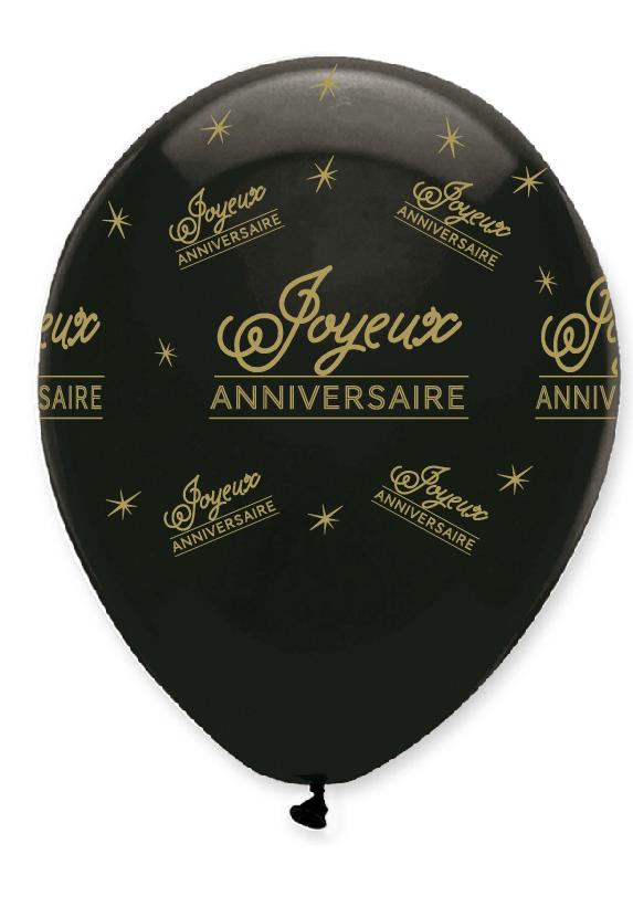 6 Ballons 30 Cm Joyeux Anniversaire Noir Et Or Creative Party Cr