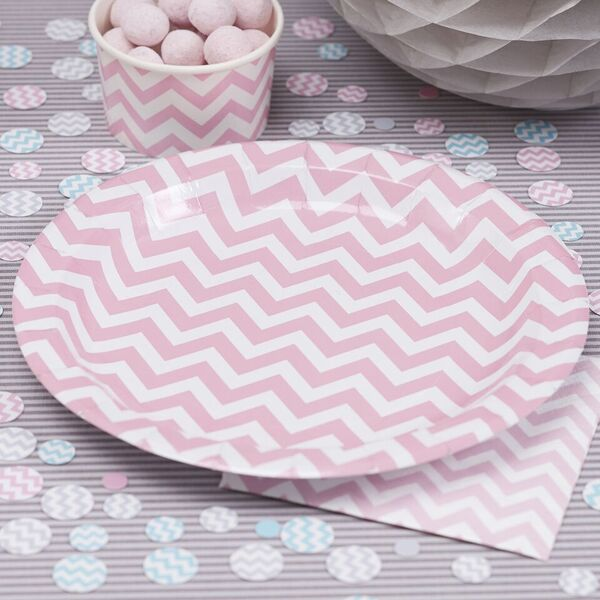 8 assiettes 23 cm chevron divine rose ginger ray gr