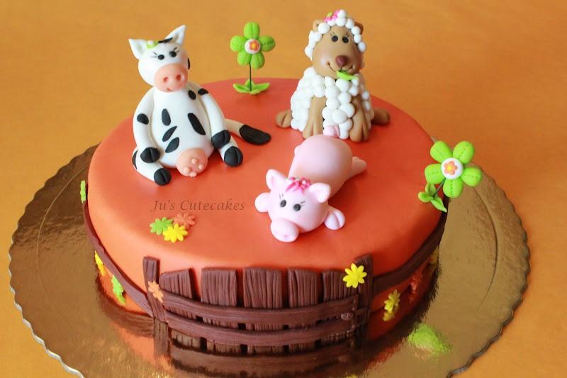 Gâteau d'anniversaire animaux de la ferme