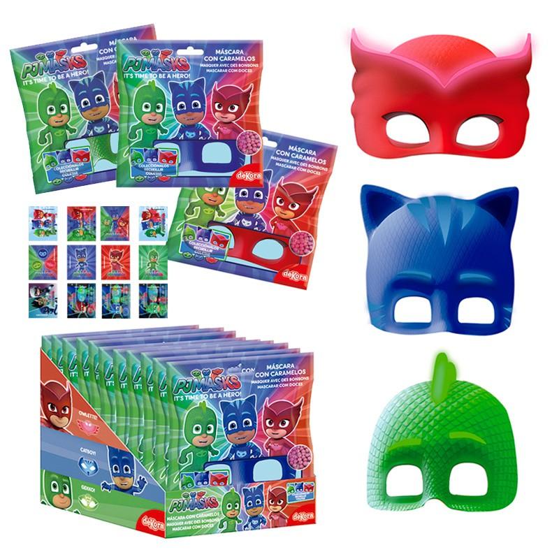 masque pj masks avec stickers et bonbons 10gr dekora 203162 creasweet vente et livraison de. Black Bedroom Furniture Sets. Home Design Ideas