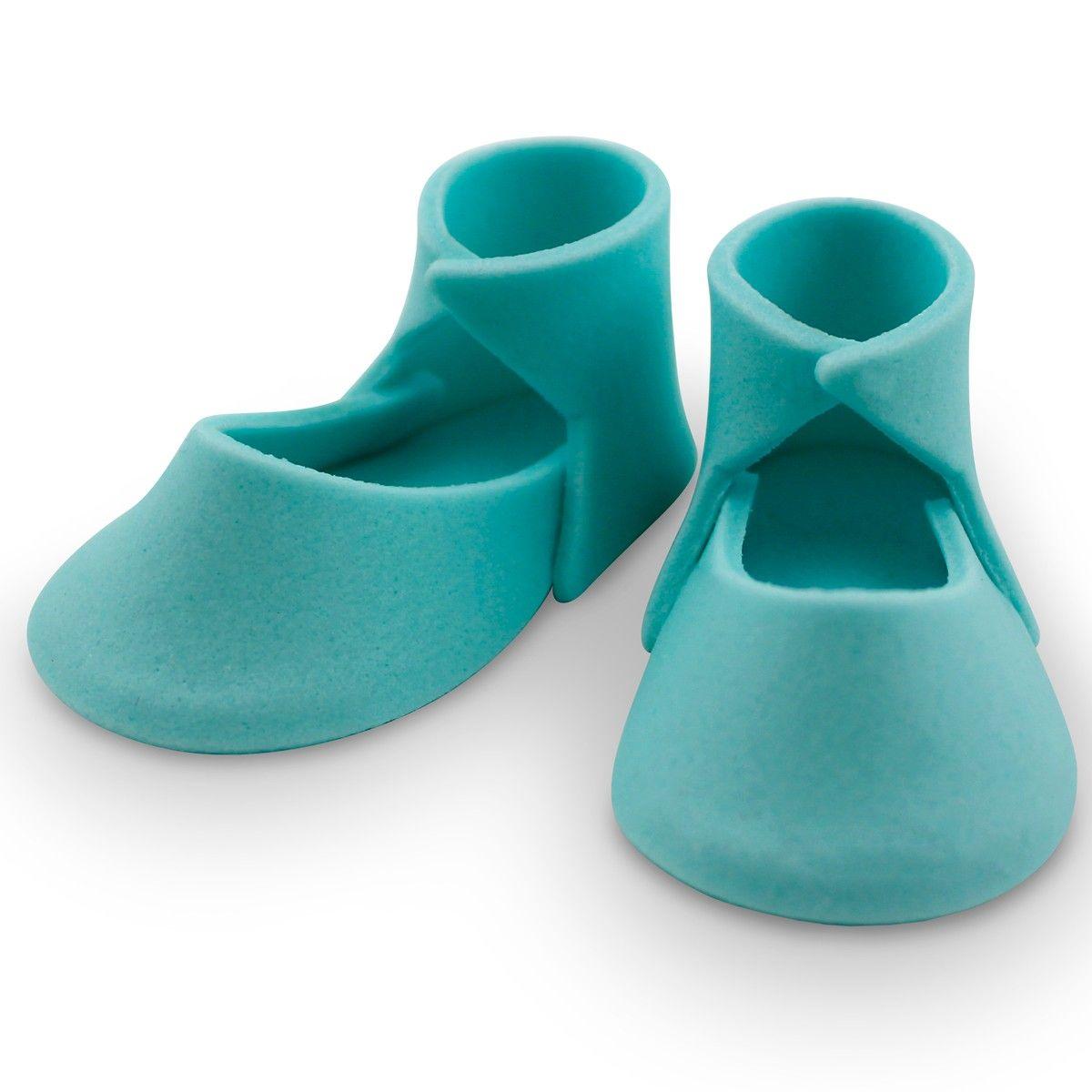 b249a55909aa2 PME CAKE TOPPER chaussons bébé moyen bleu en sucre PK 2 PME PM167B ...